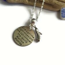 """MONROE themed silver tag """" girl right shoes conquer the world """" necklace gift UK"""