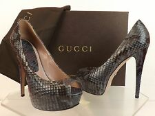 NIB GUCCI ASH GRAY PYTHON LEATHER LILI PEEP TOE PLATFORM PUMPS 36 6 $1150