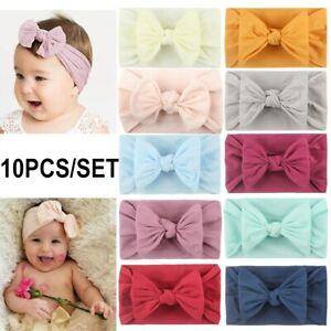 10 Pcs Baby Rabbit Headband Elastic Bowknot Hair Band Girls Bow-knot Newborn Bow