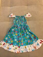 Girl Hattley Dress With Ruffles Flowers Blue Size 4 Thick Cotton