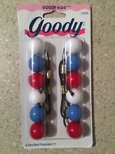 1997 Goody 6 Twin Bead Ponytailers Vintage Red White Blue 24830 Patriotic NOS