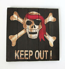 PIRATE SKULL & CROSSBONES JOLLY ROGER DO NOT ENTER SIGN WOOD HAND MADE PAINTED