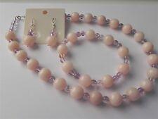 Peach quartzite and light amethyst necklace, bracelet & earrings set.