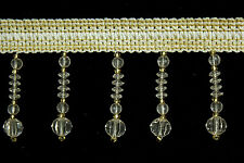 10 Yards Beaded FRINGE Trim for DRAPERY and UPHOLSTERY in (Off White/ Beige)