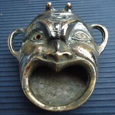 Génie Cendrier Vide Poche Miniature Bronze Yeux Brillants  8 x 8 x 3 Cm  173 Grs