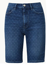 M&S Ladies Women Curve Polka Dot Denim Shorts Plus Size 24 to 32 BNWT RRP £18.99