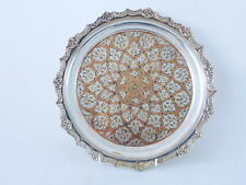 ISLAMIC WALL HANGING TRAY/SALVER WHITE METAL AND COPPER INLAY ~ FREE UK POSTAGE