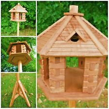 Wooden Bird House Hexagon Bird Table Feeder Free Standing Feeding Station