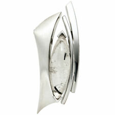 Colgante Con Cuarzo Turmalina Gris-Negro 925 Plata Collar Mujer