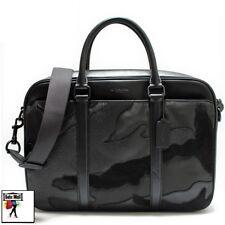 Coach Men's Perry Matte Black/Black Leather Slim Briefcase F11635