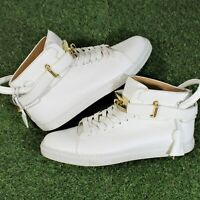 Buscemi 100mm White Leather High Top Sneakers Made in Italy Size 43 (MSRP $890)