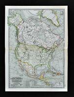 1902 Century Map - North America United States Canada Mexico Cuba Alaska Iceland