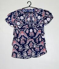 Best-looking Blue Floral Stretchable Blouse for PLUS Size Body