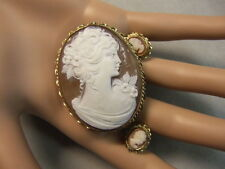 9 ct GOLD second hand cameo pendant brooch & earrings