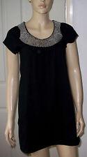 PUMPKIN Black Sequin Neck T Shirt Dress - Front Pocket Detail Size: 8 BNWT
