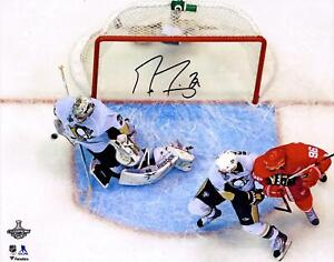 Marc-Andre Fleury Penguins Signed 16 x 20 2009 SC Finals G7 Clinching Save Photo
