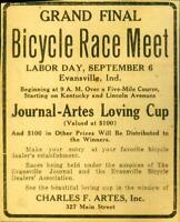 Advertising Newspaper Bicycle Race Meet Evansville, Ind Charles F. Artes  1920