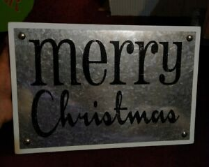 """Merry Christmas Sign metal on wood 8"""" x 12""""  by three girls and a wish, NEW"""