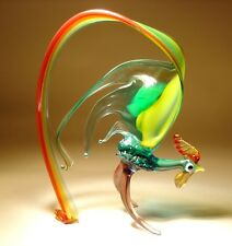 """Blown Glass Figurine """"Murano"""" Red, Green & Yellow Bird ROOSTER w/ Gorgeous Tail"""