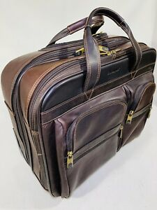 Samsonite Leather Rolling Mobile Office Brown Briefcase by Heritage Travelware