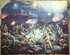 Over the Top - Antique World War One Illustration Art Poster Print WWI Scene