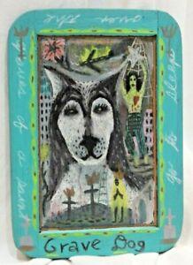 """Tony Fitzpatrick of Illinois & NY Mixed Media on Slate Outsider Art """"Grave Dog"""""""