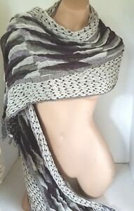 Six Foot Scarf Pleated Black and Beige Polka Dots Winter Fall