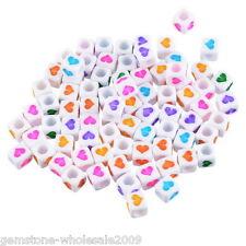 Wholesale 300PCs Mixed White Acrylic Beads Heart Pattern Cube Beads 6x6mm 50