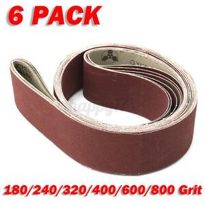 6Pcs 2''x72'' Sanding Belt Grit 180 240 320 400 600 800 for Belt Sander To