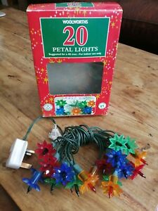 Vintage WOOLWORTHS Boxed Set Of 20  PETAL CHRISTMAS TREE LIGHTS Party String