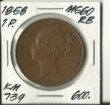 Great Britain 1858 PENNY Victoria Uncirculated Copper/ Red Brown KM 739 #