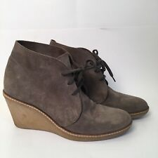 J Crew Olive Green Suede Macalister Wedge Bootie Size 8 Gum Sole GREAT used Cond