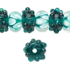 20 Handmade Rondelle Lampwork Glass Beads TEAL MIX