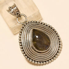 Natural BlueFlame Labradorite Pendant 925 Sterling Silver Statement Jewelry Gift