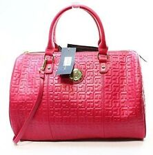Tommy Hilfiger Womens Quinn TH Embossed Leather Convertible Satchel Bag Was $168