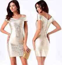 NWT bebe beige gold brushed foil shine bandage v neck top dress M Medium sexy
