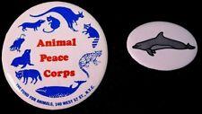 Animal Peace Corps & Whale Buttons 80'S - Original Pinbacks Rare
