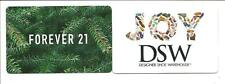 Lot (2) Gift Cards No $ Value Collectible Forever 21 & DSW Direct Shoe Warehouse
