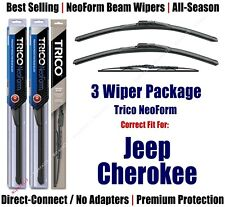 3pk Wipers Front & Rear - NeoForm - fit 1984-1996 Jeep Cherokee - 16180x2/30110