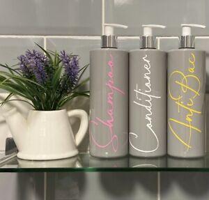 Mrs Hinch Inspired 500ml Grey Pump Bottles Set Bathroom Kitchen Shower Vinyl