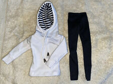 Tyler Wentworth doll outfit- B&W inside striped white hoodie w/black pants!