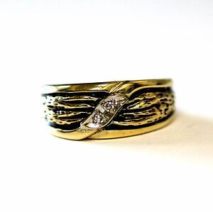 14k yellow gold mens .06cttw SI1 H diamond black enamel wedding band ring 5.7g