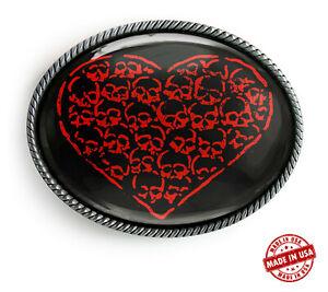 Red Heart Belt Buckle - Gothic Skull Handmade Silver Buckle - 368