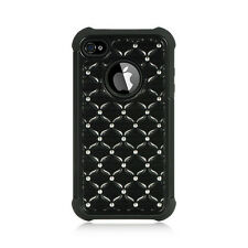 3 in 1 Hard Soft Hybrid Studded Diamond Quilted Case for iPhone 4 4S NEW Glossy