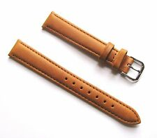 16mm Quality Genuine Leather Padded Tan Light Brown Watch Band - Size Regular