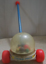 Vintage FISHER PRICE Push/Pull CORN POPPER Toddler TOY Wood Handle/Base OLD PO