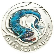 Melanostomias Silver Proof Coin $2 Dollar Deep Sea Fish Pitcairn Islands 2011
