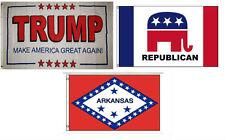 3x5 Trump White #2 & Republican & State of Arkansas Wholesale Set Flag 3'x5'