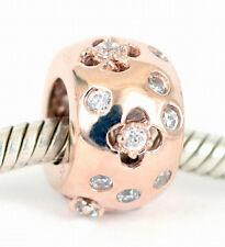 SOLID 9CT ROSE GOLD FLOWER BEAD w 23 Sparkling CZ For Charm Bracelet / Necklace
