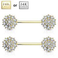 PAIR(2 lot) 14K Solid GOLD Burst Gem Nipple Rings Bars Barbells Piercing Jewelry